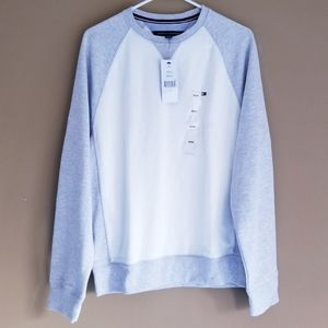 TOMMY HILFIGER Gray White Crew Neck Sweater
